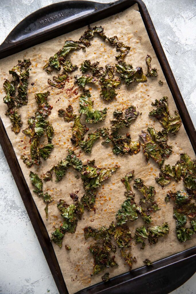spicy oven baked kale chips