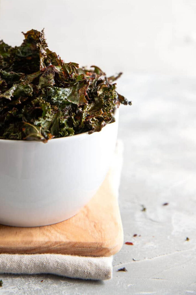 kale chips in a bowl.