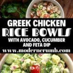greek marinated chicken thighs with brown rice and avocado feta dip in bowls