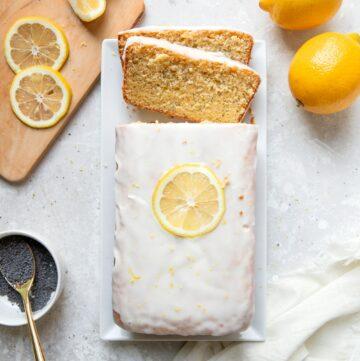 lemon poppyseed pound cake with lemon icing glaze