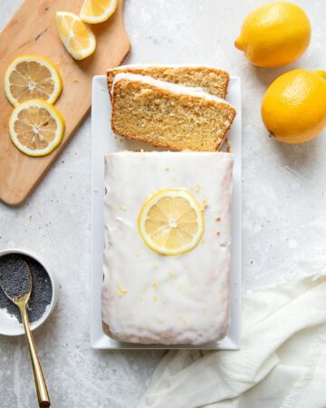 lemon poppyseed pound cake with lemon icing glaze
