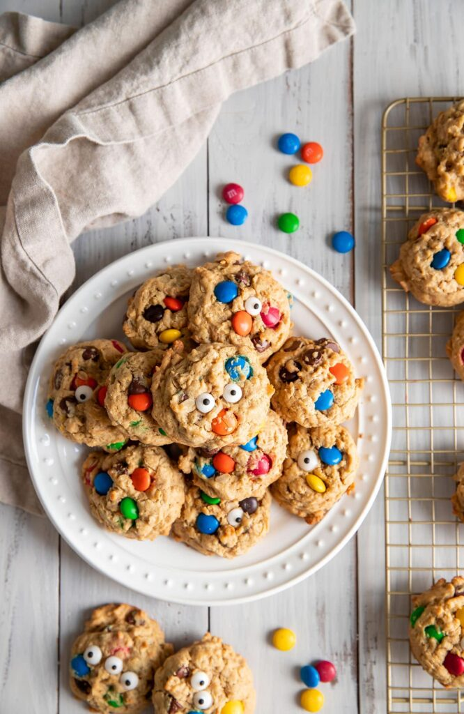 baked monster cookies on a plate
