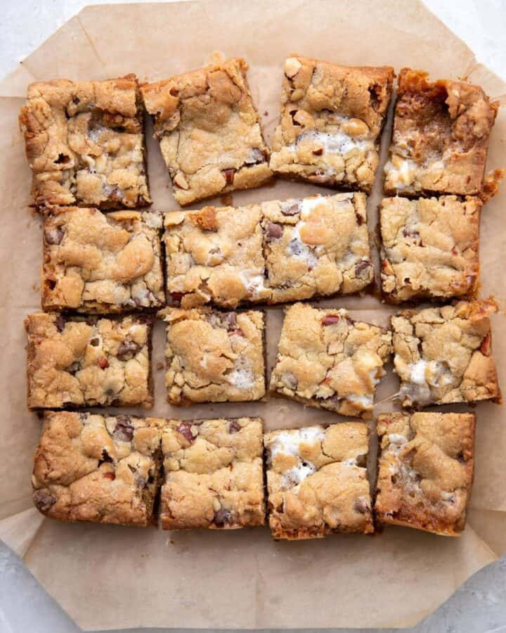 rocky road cookie bars cut into 16 squares