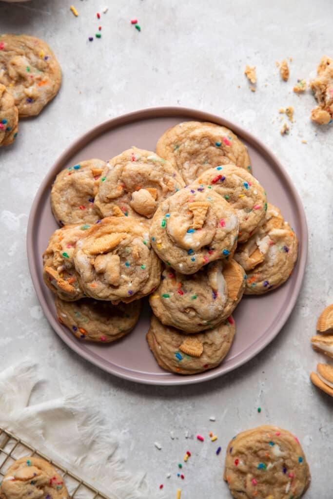 sprinkle cookies on a purple plate