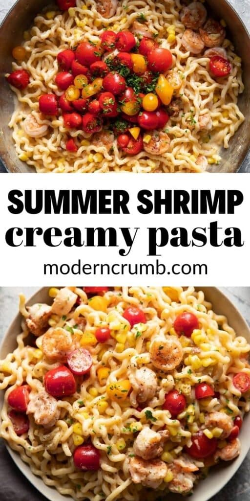 pan of pasta with shrimp and tomatoes