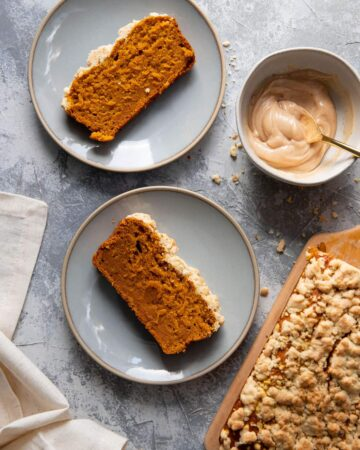 slices of pumpkin loaf on blue plates