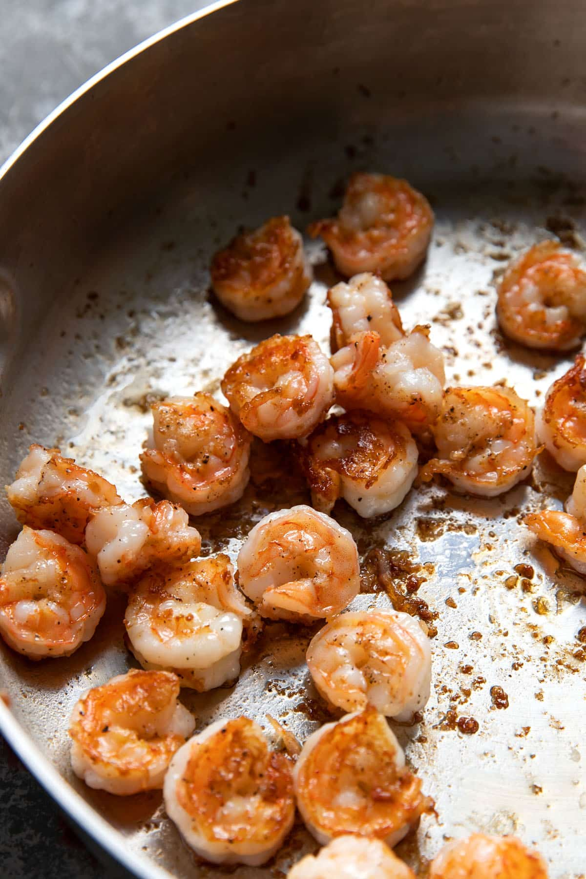 cooked shrimp in a pan