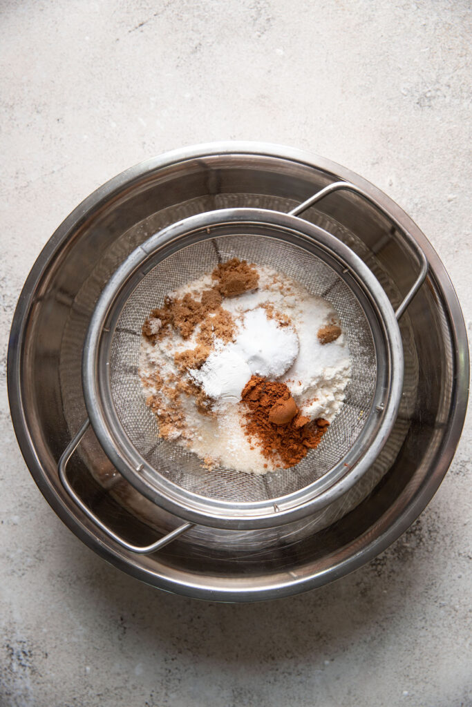 baking ingredients in a sifter