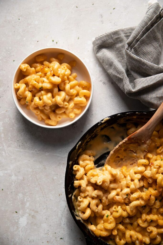 baked mac and cheese in a white bowl