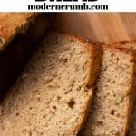 banana bread image with a text overlaying with recipe name