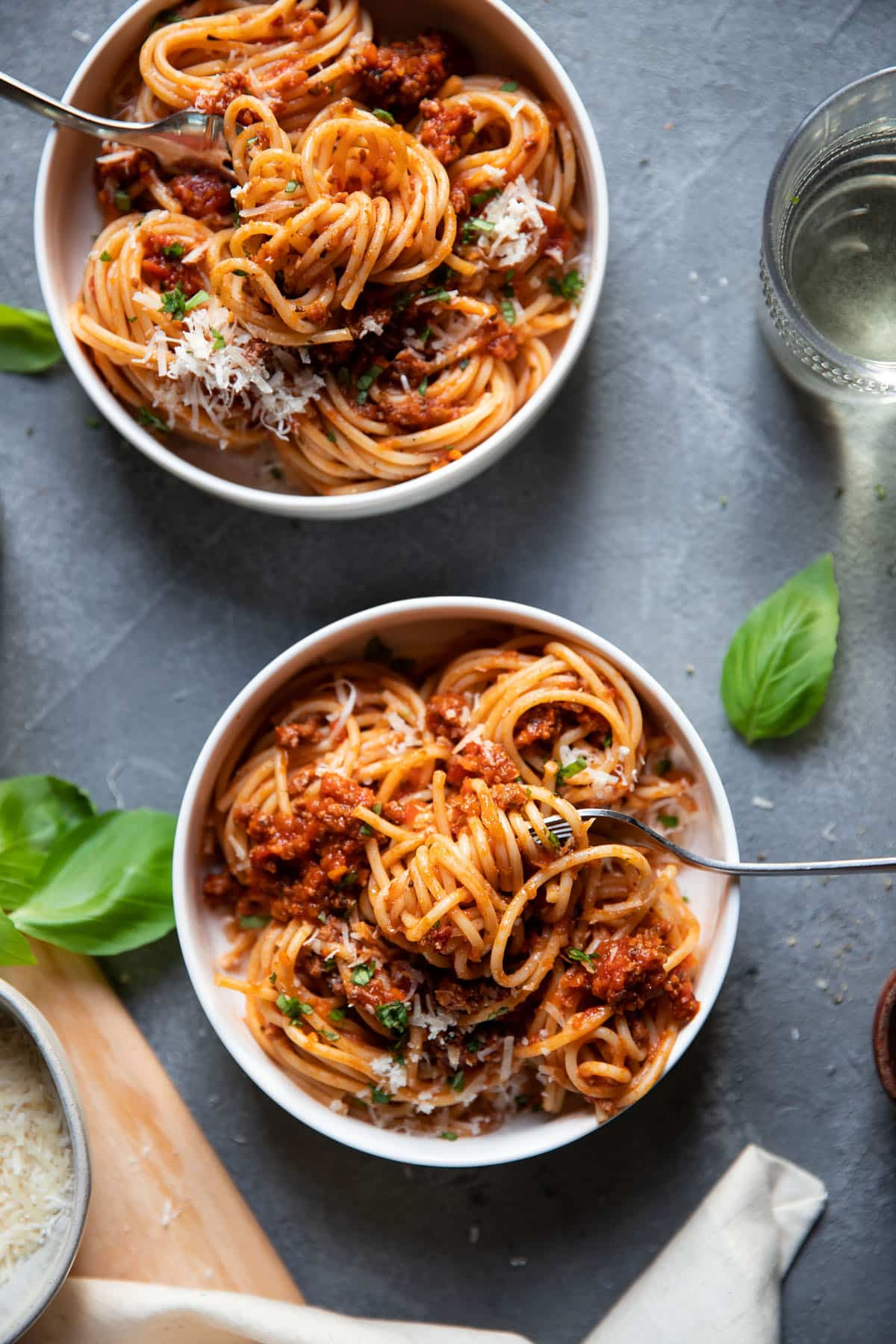 pasta in a bowl with meat sauce