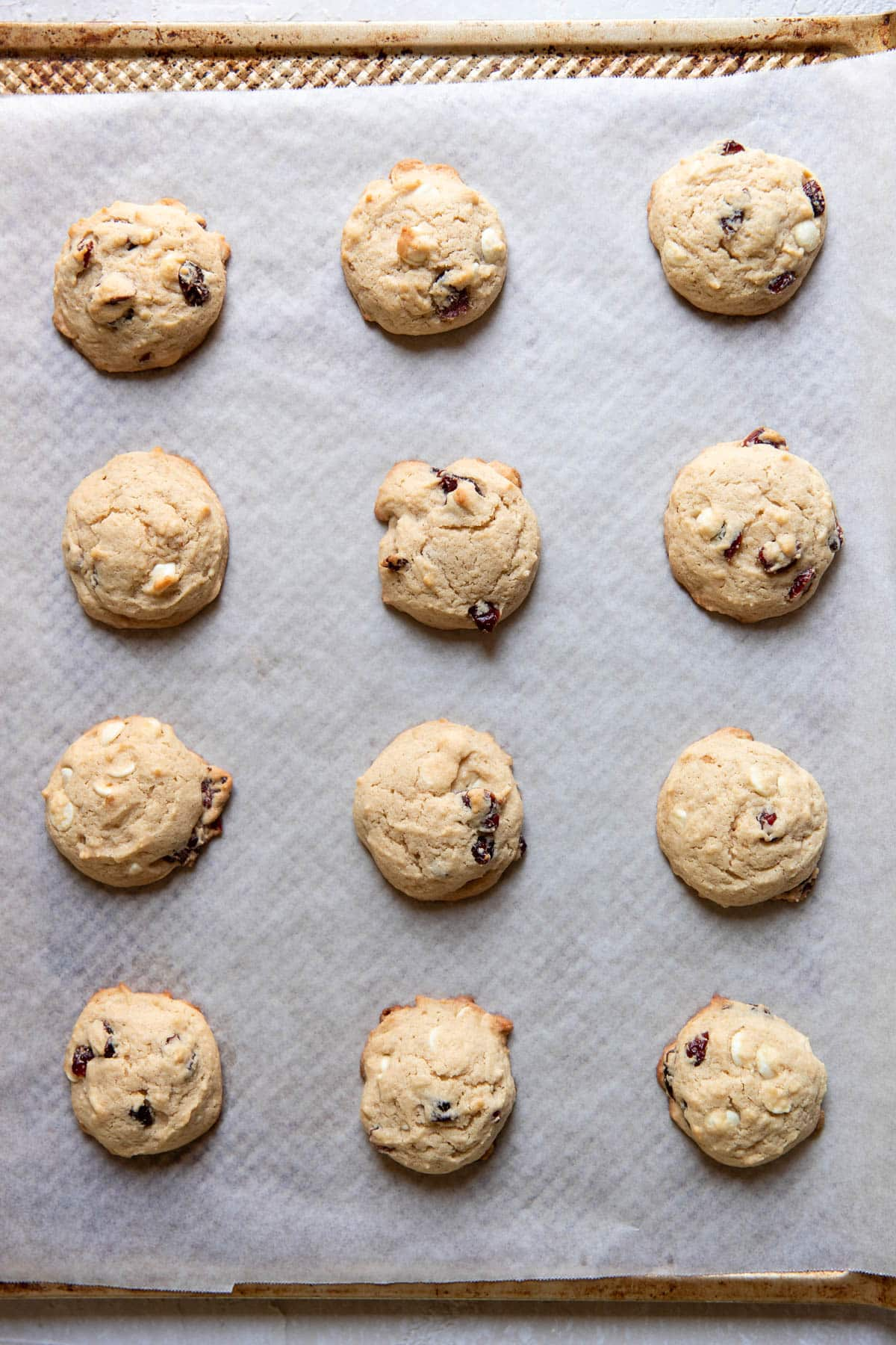 cranberry cheesecake cookies after baking