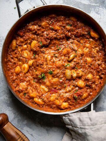 gnocchi marinara and ground beef in a pan