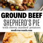 ground beef shepherds pie in a baking dish