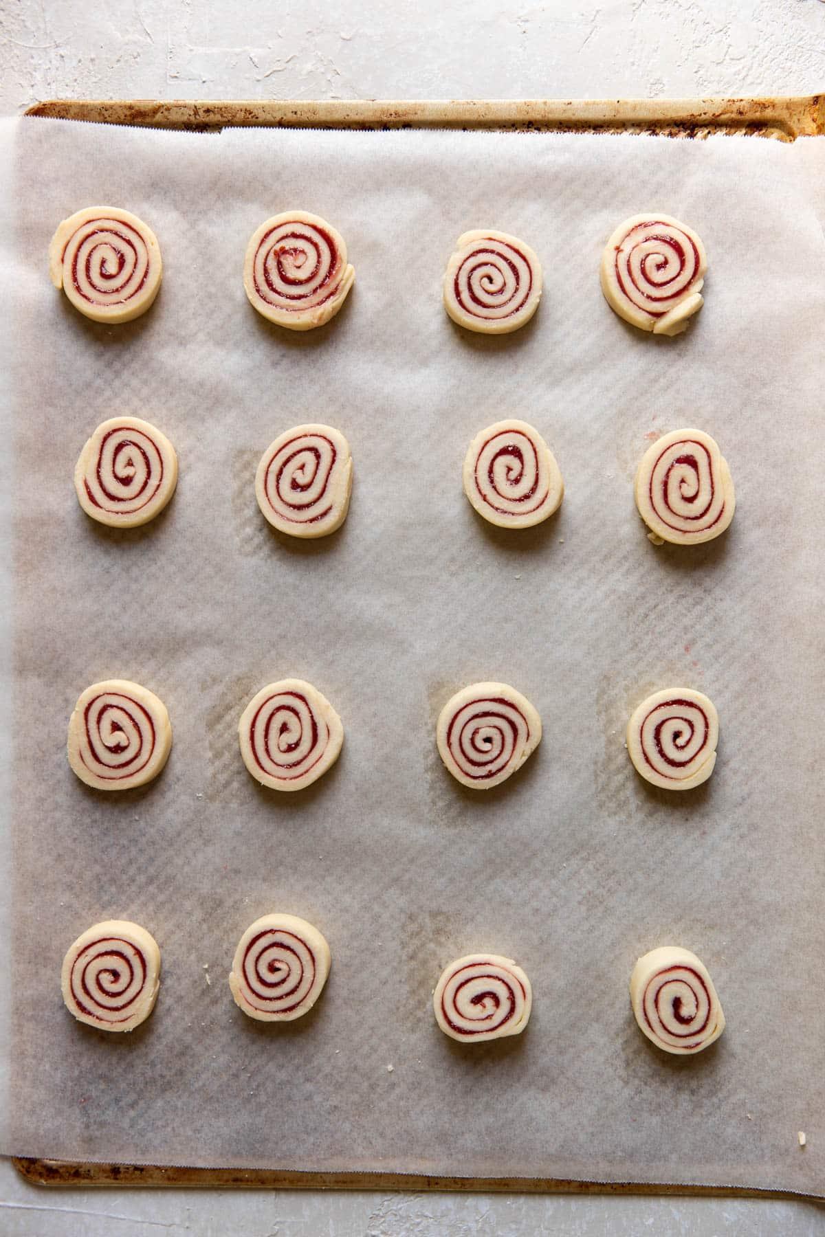 jam pinwheel cookies before baking
