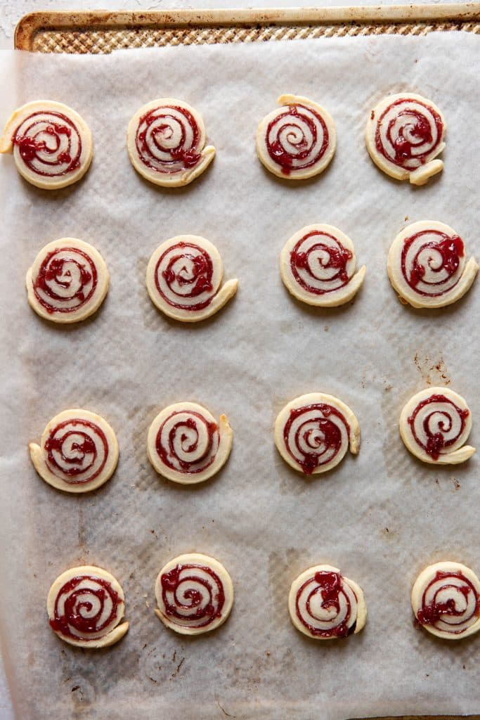 jam pinwheel cookies after baking