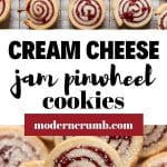jam pinwheel cookies with text overlay