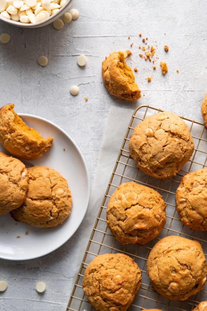 pumpkin cheesecake white chocolate chip cookies