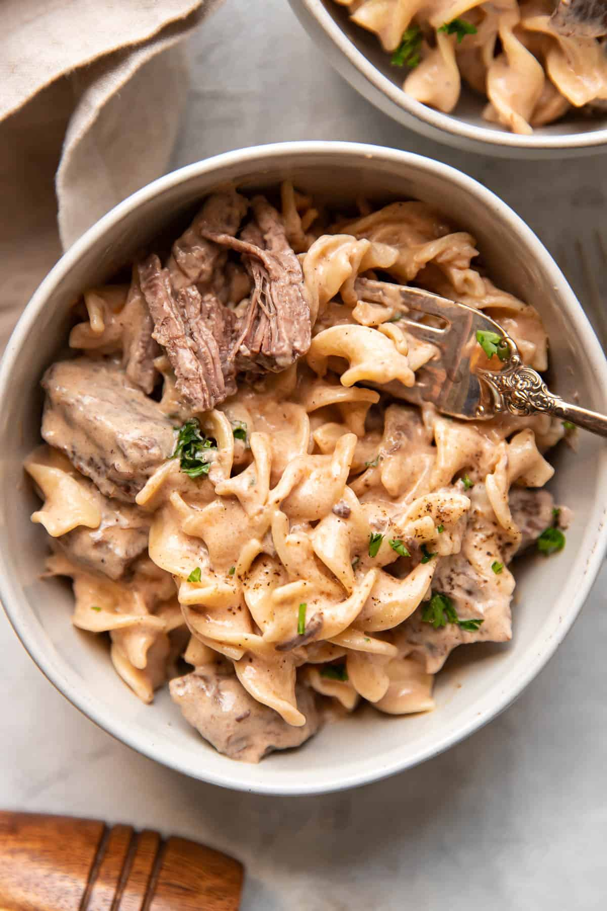 beef stroganoff with sour cream, egg noodle and chuck roast meat.