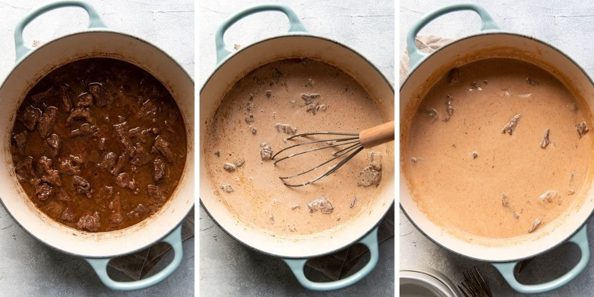 steps to making beef stroganoff in a collage.