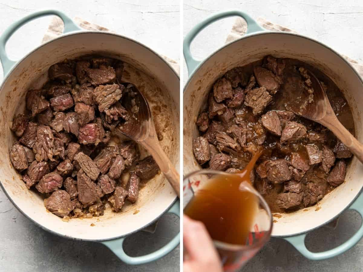 steps to making beef stroganoff, cooking the meat.