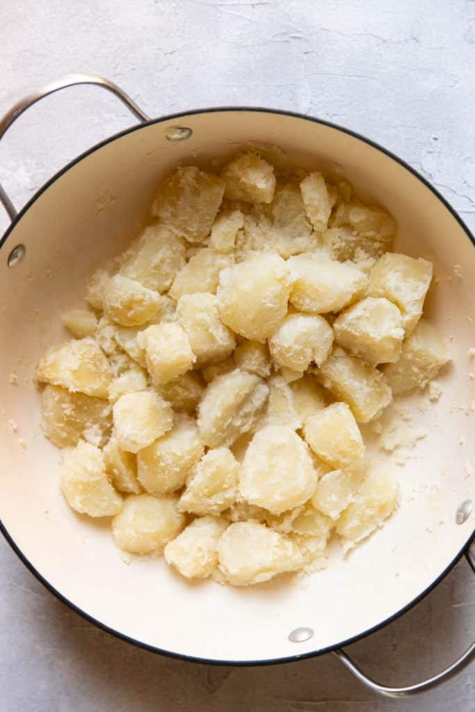 boiled potatoes steamed