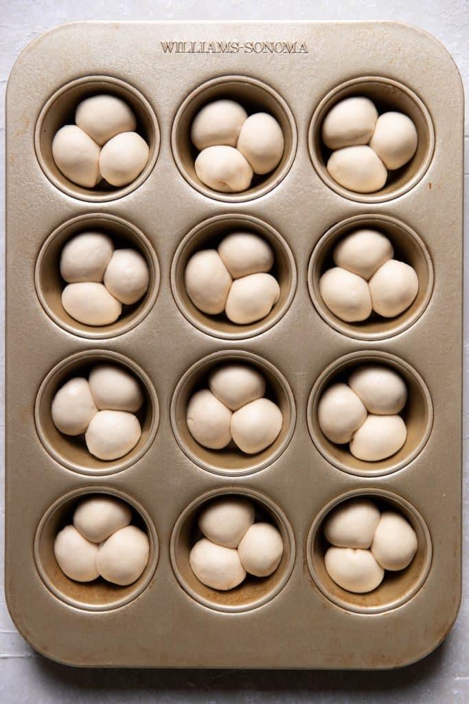 cloverleaf rolls prior to baking