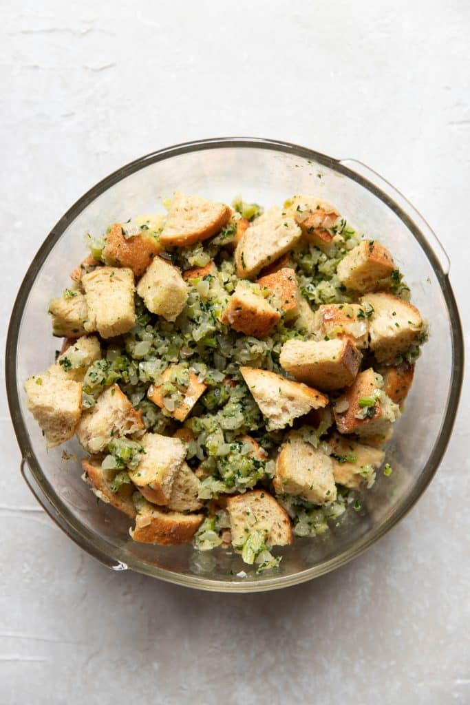 sauteed vegetables and cubed bread