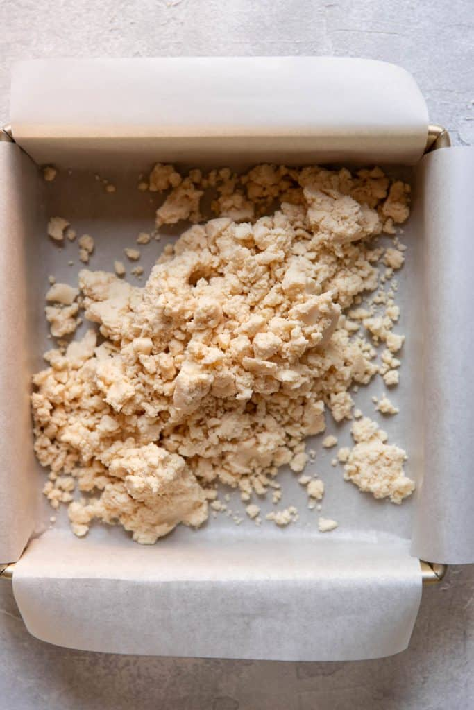 shortbread crumbles before baking