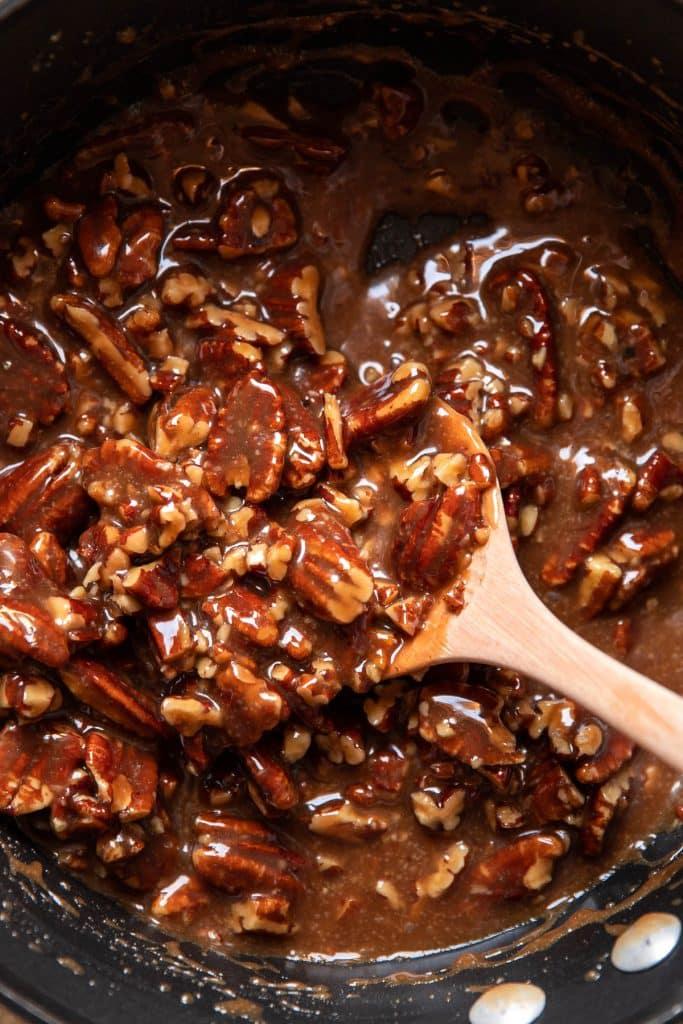 caramel and pecans