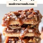 pecan caramel bars with text overlay
