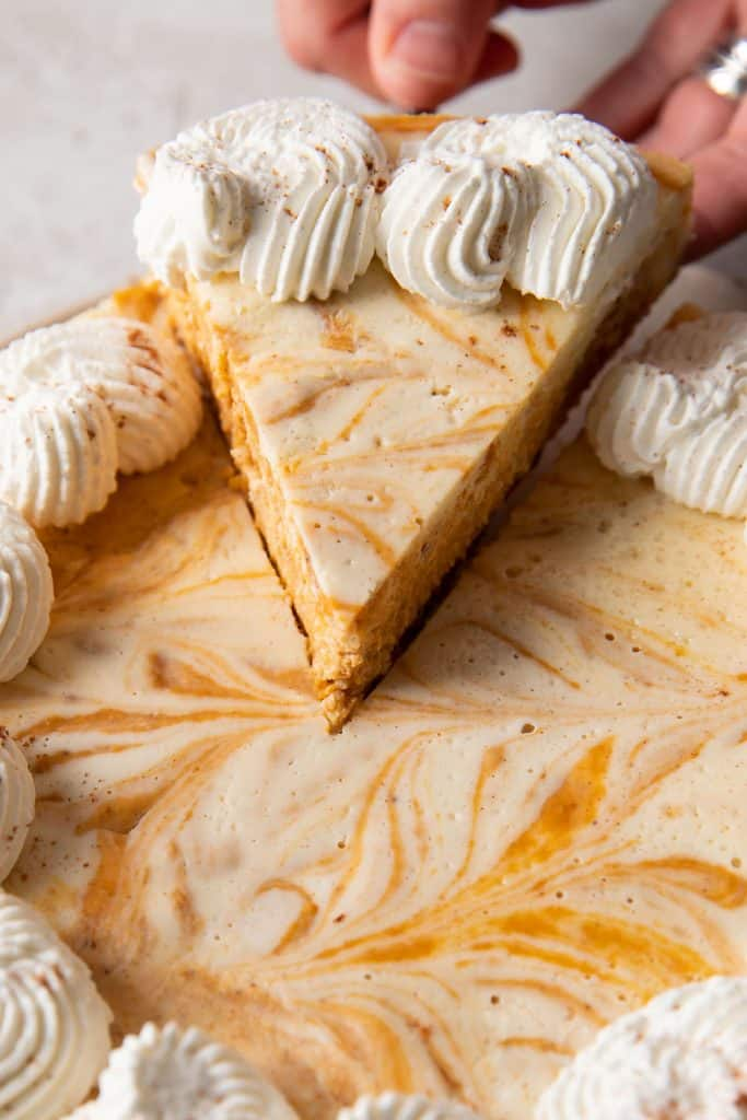 pumpkin cheesecake on a plate