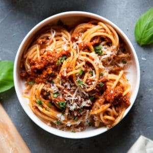 spaghetti bolognese in a bowl.