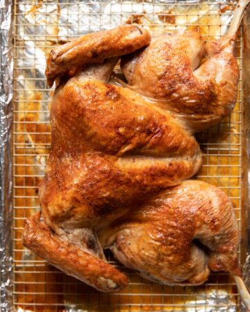 cooked spatchcock turkey
