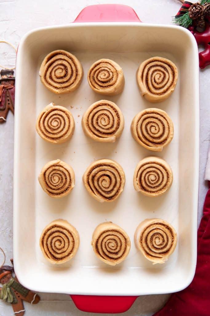 gingerbread cinnamon roll dough before baking