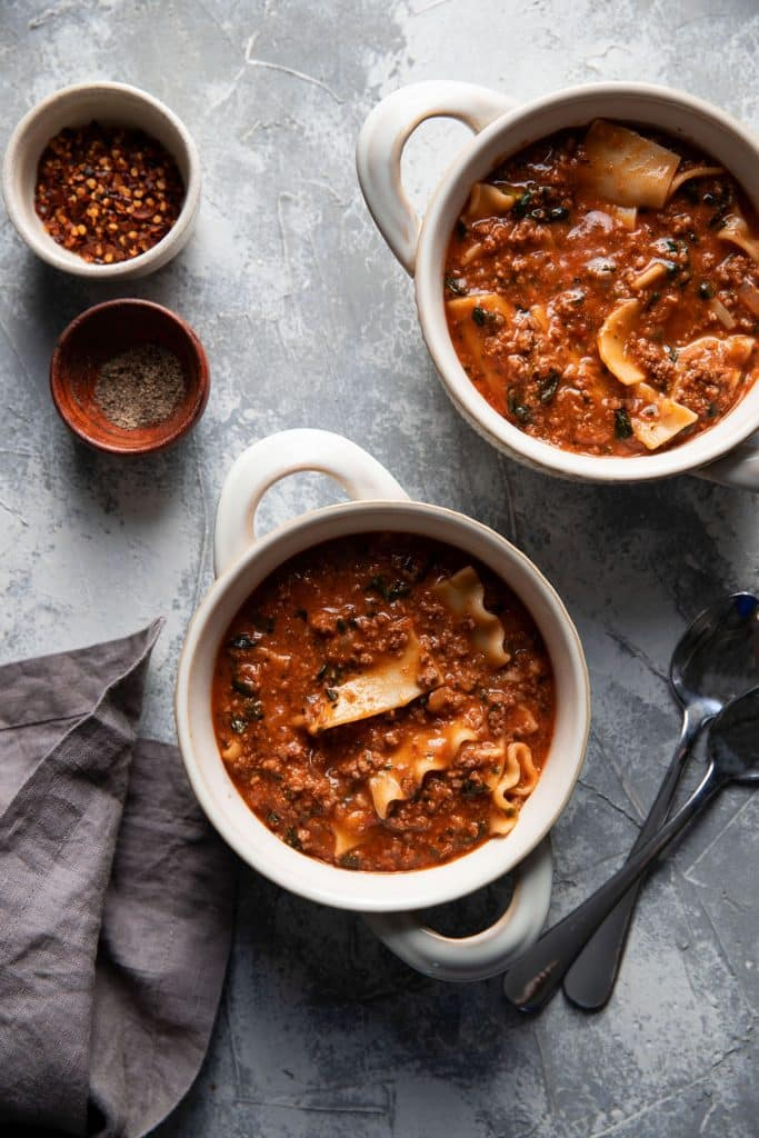one pot lasagna soup in a bowl
