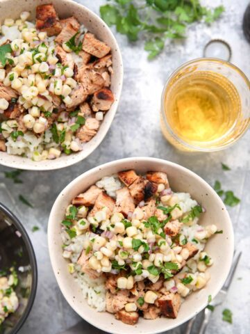 chipotle chicken and rice in a bowl