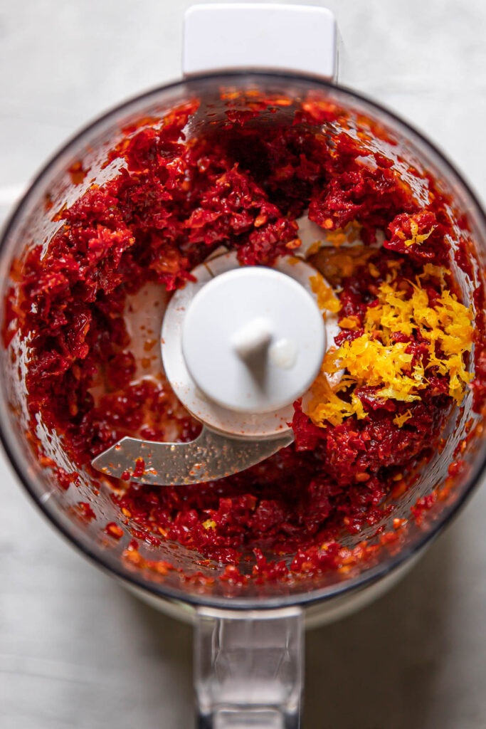 sundried tomatoes pulsed in a food processor