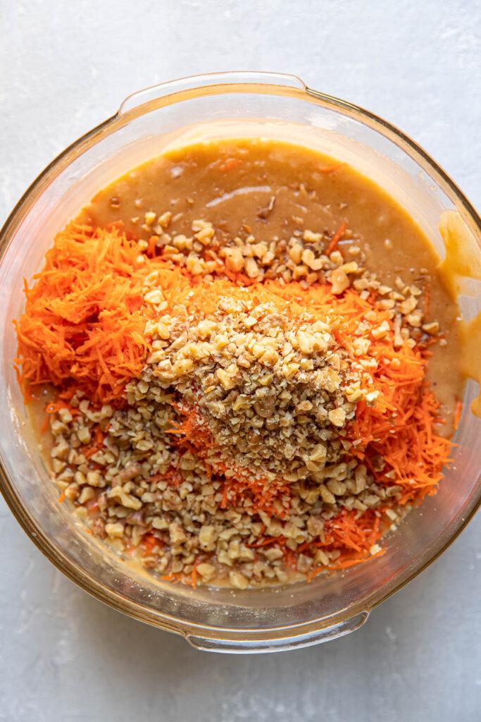 carrot cake batter in a bowl.