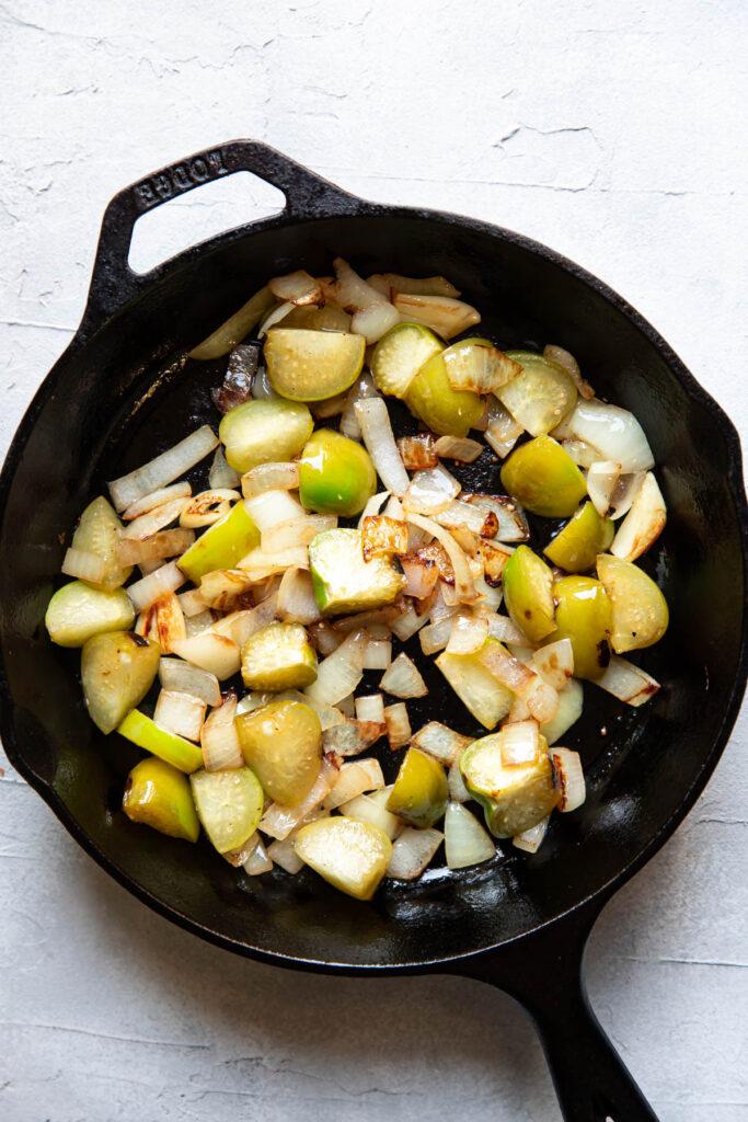 Vegetables on a skillet.