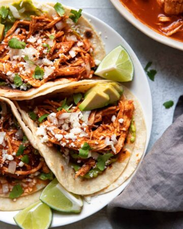 Plate of instant pot chicken tinga tacos.