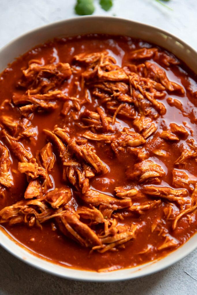 Shredded chicken in tinga sauce.