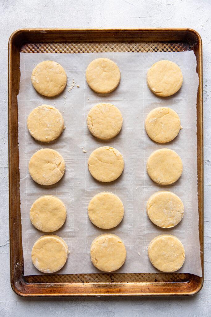 Irish scone prior to baking on cookie sheet.