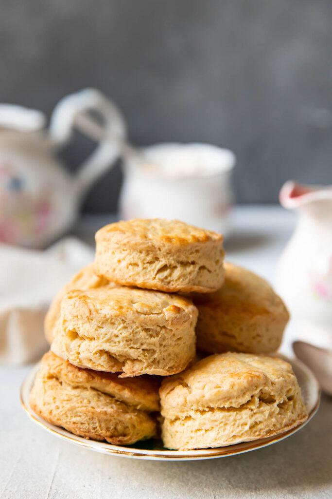plate of irish scones stacked up.