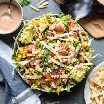 chicken taco salad in a bowl.