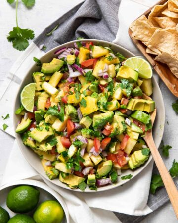 pineapple avocado salsa in a bowl.