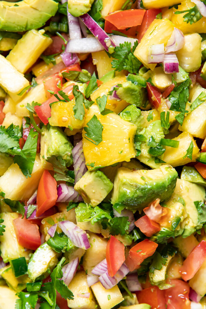 pineapple avocado salsa in a bowl.