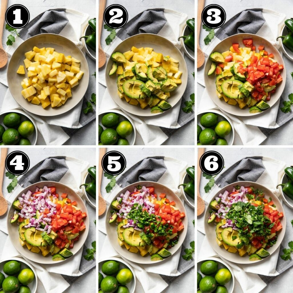 6 image grid of how to make pineapple avocado salsa.