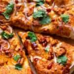 slice of homemade bbq chicken pizza.