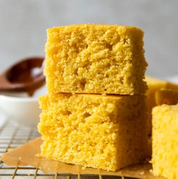 big fluffy pieces of buttermilk honey cornbread.